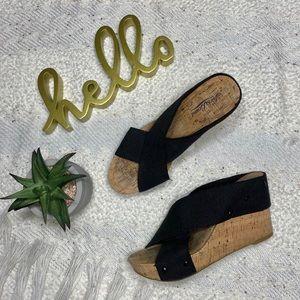 Lucky Brand 'Miller' black wedge sandals